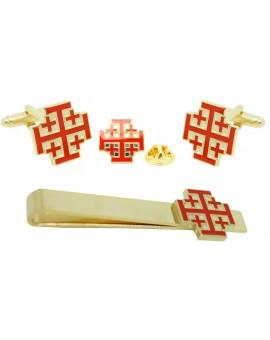 Pack Gemelos, Pisacorbatas y Pin Orden del Santo Sepulcro de Jerusalén