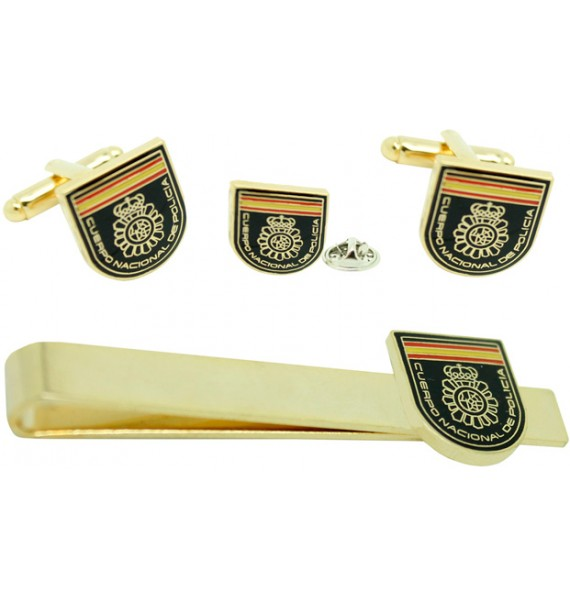 Spanish National Police Patch Cufflinks, Tie Bar and Pin Gift Set