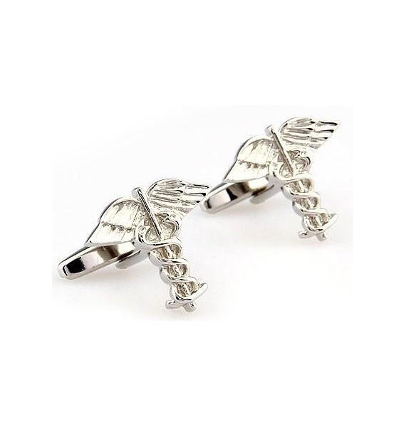 Silver Caduceus Cufflinks
