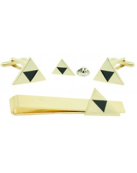 Gold Plated Zelda Cufflinks,Tie Bar and Pin Gift Set