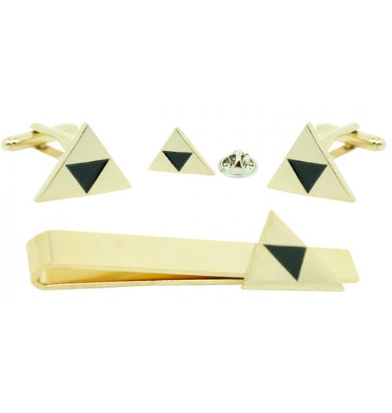 Gold Plated Zelda Cufflinks,Tie Bar and Pin Gift Set