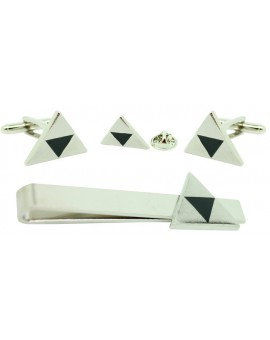 Silver Plated Zelda Cufflinks,Tie Bar and Pin Gift Set