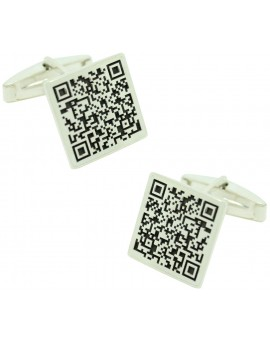 Gemelos Cuadrado con código QR Plata 925
