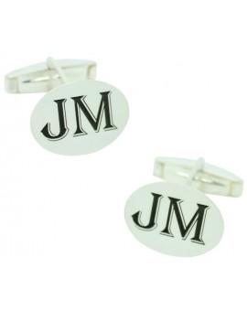 comprar gemelos tipo de letra JM a medida Plata