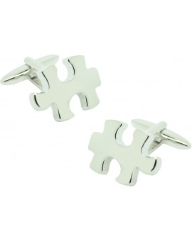 Silver Plated Puzzle Piece 3D Cufflinks
