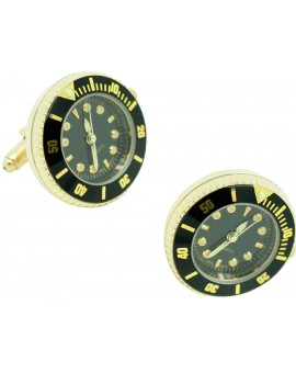 Black Submariner - Gold tone Sports Watch Cufflinks