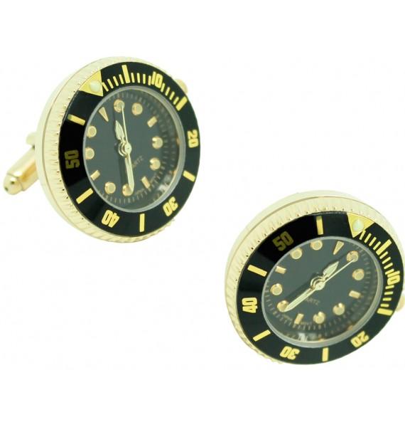 Gemelos para camisa Reloj Submariner Sport Negro - Dorado