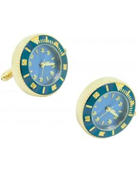 Blue Submariner cufflinks - Gold tone Sports Watch Cufflinks