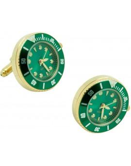 Green Submariner cufflinks - Gold tone Sports Watch Cufflinks