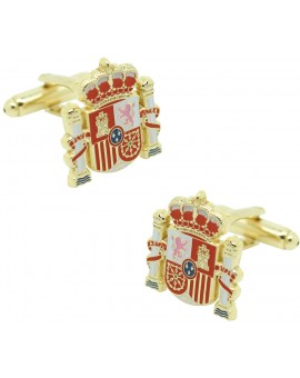 Official shield cufflinks golden Spain