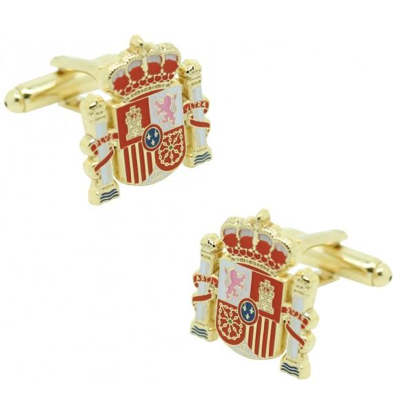 Official shield cufflinks golden Spain