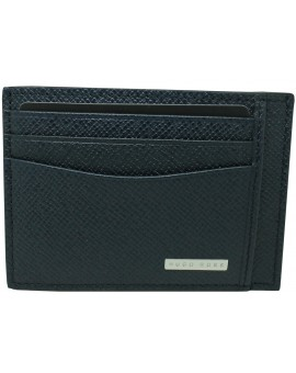 Dark blue business card holder Hugo Boss granulated