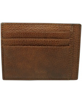 brown business card holder Hugo Boss granulated