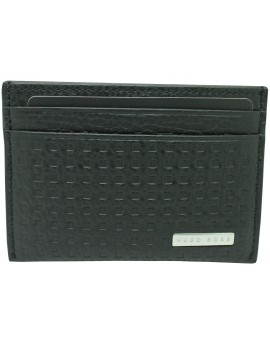 Black business card holder with squares of Hugo Boss