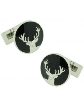 The Deer Skultuna Cufflinks in black background - silver plated