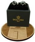 The Deer Skultuna Cufflinks in black background - silver plated
