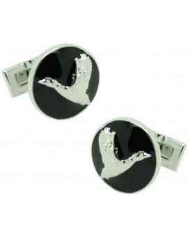The Flying Duck Skultuna Cufflinks in black background - silver plated