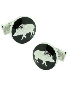 The Wild boar Skultuna Cufflinks in black background - silver plated