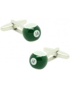 Cufflinks for shirt Ball billiard 14 Green
