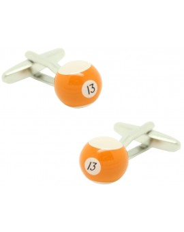 Cufflinks for shirt Ball billiard 13 Orange