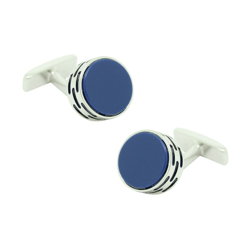034ee731e88d Cufflinks Hugo Boss roundel stone in blue rhodium silver