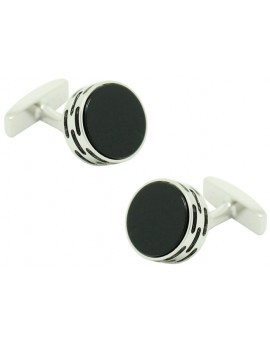 Cufflinks Hugo Boss roundel - black stone