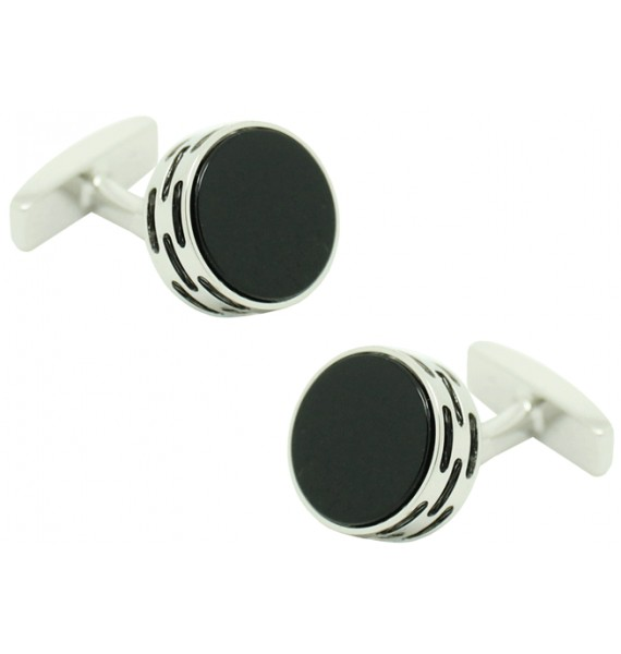 f68ba9583713a Cufflinks Hugo Boss roundel stone in black rhodium silver