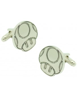 Cufflinks for silver mushroom shirt Super Mario Bros.