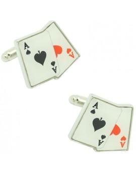 Gemelos para camisa cartas par de Ases poker
