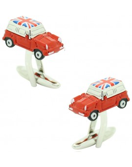Red Mini Cooper Union Jack Roof Cufflinks