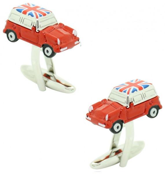 Red Mini Cooper Union Jack Roof Cufflinks