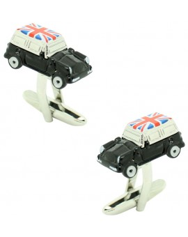 Gemelos Mini Cooper Negro Bandera UK