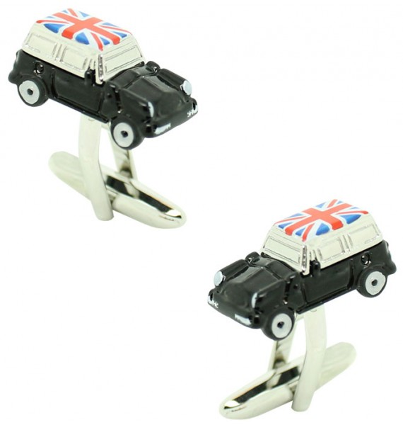 Black Mini Cooper Union Jack Roof Cufflinks