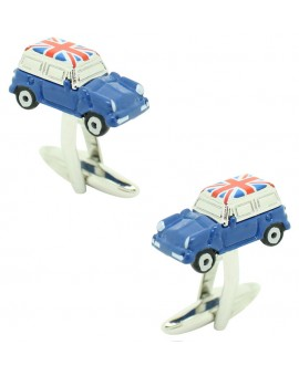 Blue Mini Cooper Union Jack Roof Cufflinks