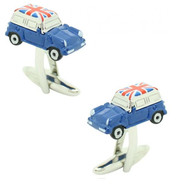 Blue Mini Cooper Union Jack Roof Cufflinks