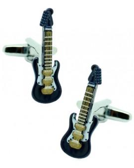 Gemelos para camisa Guitarra Eléctrica Azul Marino 3D