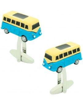 Gemelos para camisa furgoneta hippie azul claro 3D