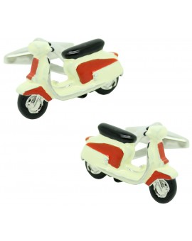 Cufflinks for shirt Moto retro Vespa red and white