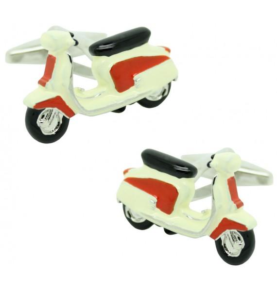 Gemelos para camisa Moto Vespa retro roja y blanca