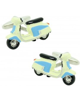 Cufflinks for shirt Moto retro Vespa blue and white