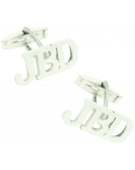 Gemelos tres iniciales unidas Personalizadas Plata 925