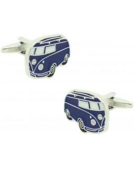 Gemelos para camisa Furgoneta VW azul Plana