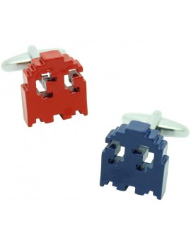 3D Red and Blue Pac-Man Cufflinks