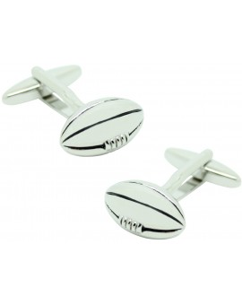 Silver Rugby Ball plated Cufflinks