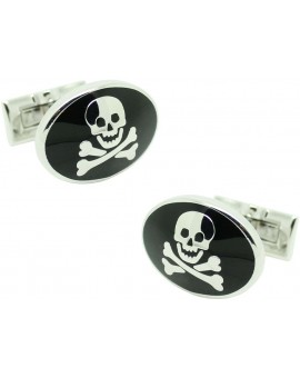 Cufflinks for shirt Skultuna wavy skull - black