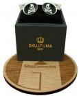 Cufflinks for shirt Skultuna wavy skull - black