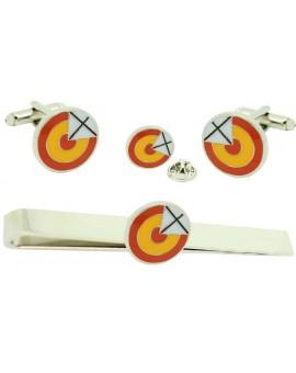 Pack Gemelos de camisa escarapela con Cruz de San Andrés con Pasador de corbata y Pin de solapa