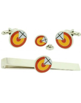 Pack Rosette Shirt Cufflinks with Saint Andrew's Cross with Tie Pin and Lapel Pin
