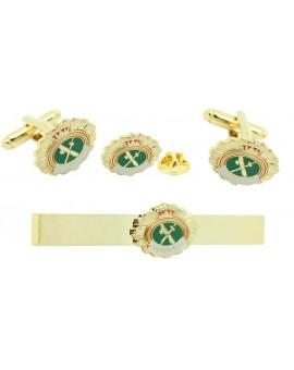Pack Gemelos de camisa placa Guardia Civil con Pasador de corbata y Pin de solapa