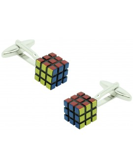 Gemelos para camisa Cubo Rubik 3D original